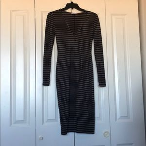 Zara Midi Navy & Tan Stripped Dress